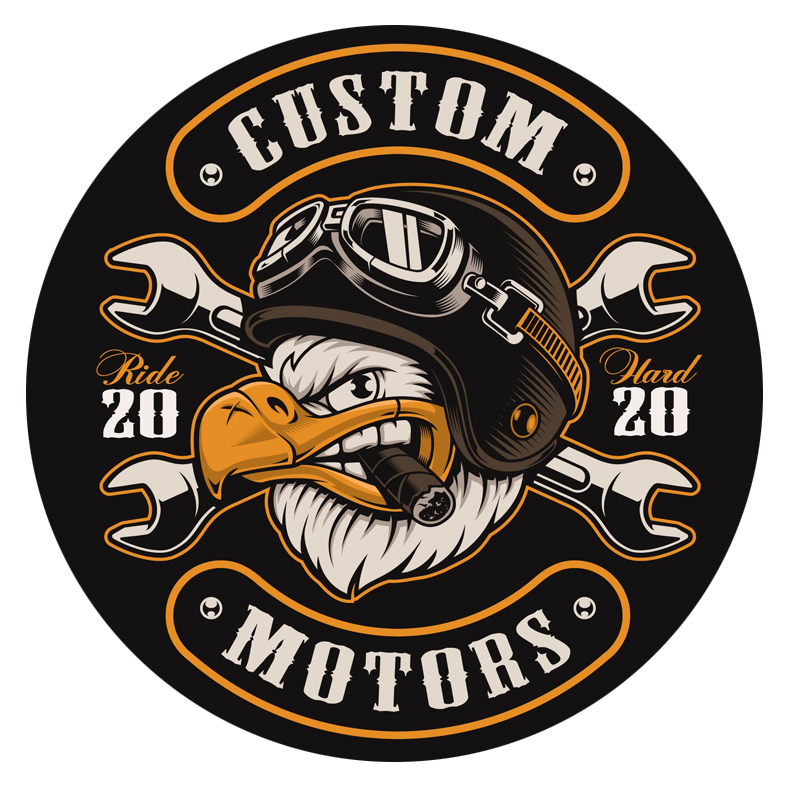 custom ride hard 2020 motors Bald eagle pilot new york sticker decal