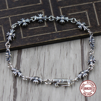 S925 Men's bracelet in Sterling Silver Personality trend cross shape Punk style retro classic Send a gift to love
