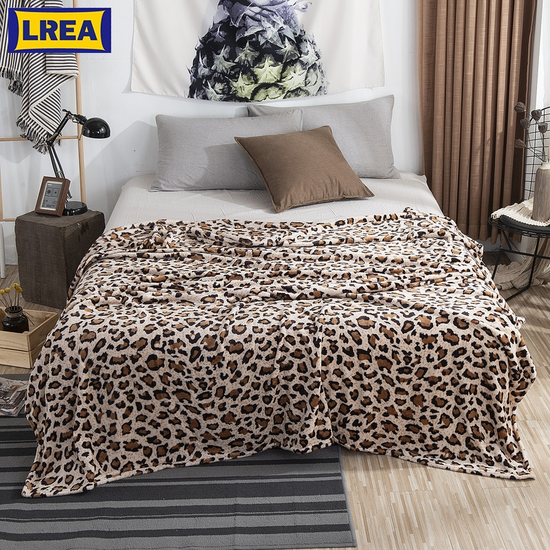 Animal Skin Leopard Zebra Sherpa Plush Blankets Winter Flannel Blanket For Double Bed Soft Warm Bedspread Travel Throw Blanket