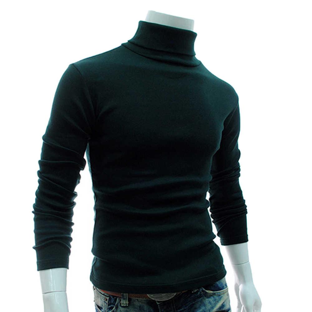 Jesień mężczyźni Solid Color Turtle szyje długi sweter z rękawem Sliming dziergany sweter Top odzież męska sweter 2019 hot