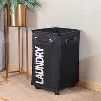 Roupa suja cesta de lavanderia dobrável cesta de armazenamento com roda para escritório à prova doxford água oxford banheiro lavanderia cesto preto