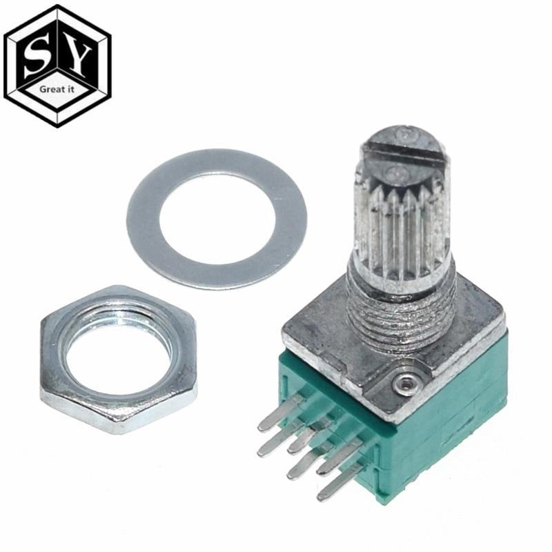 GRANDE QUE 1PCS 6 pinos RK097N B5K B10K B20K B50K B100K B500K Amplificador de Áudio Potenciômetro Selado 15 milímetros Eixo