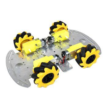 Carrito de ruedas omnidireccional Robot inteligente Chasis de coche Metal TT Kits de Motor DIY rueda omnidireccional es un diseño de la rueda