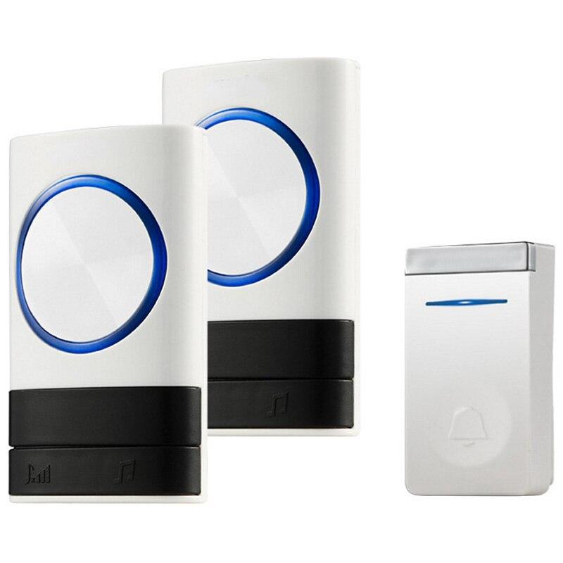 ABKT-New Wireless Doorbell No Battery Waterproof Eu Plug Led Light 150M Long Range Smart Door Bell 1 Button 2 Receiver