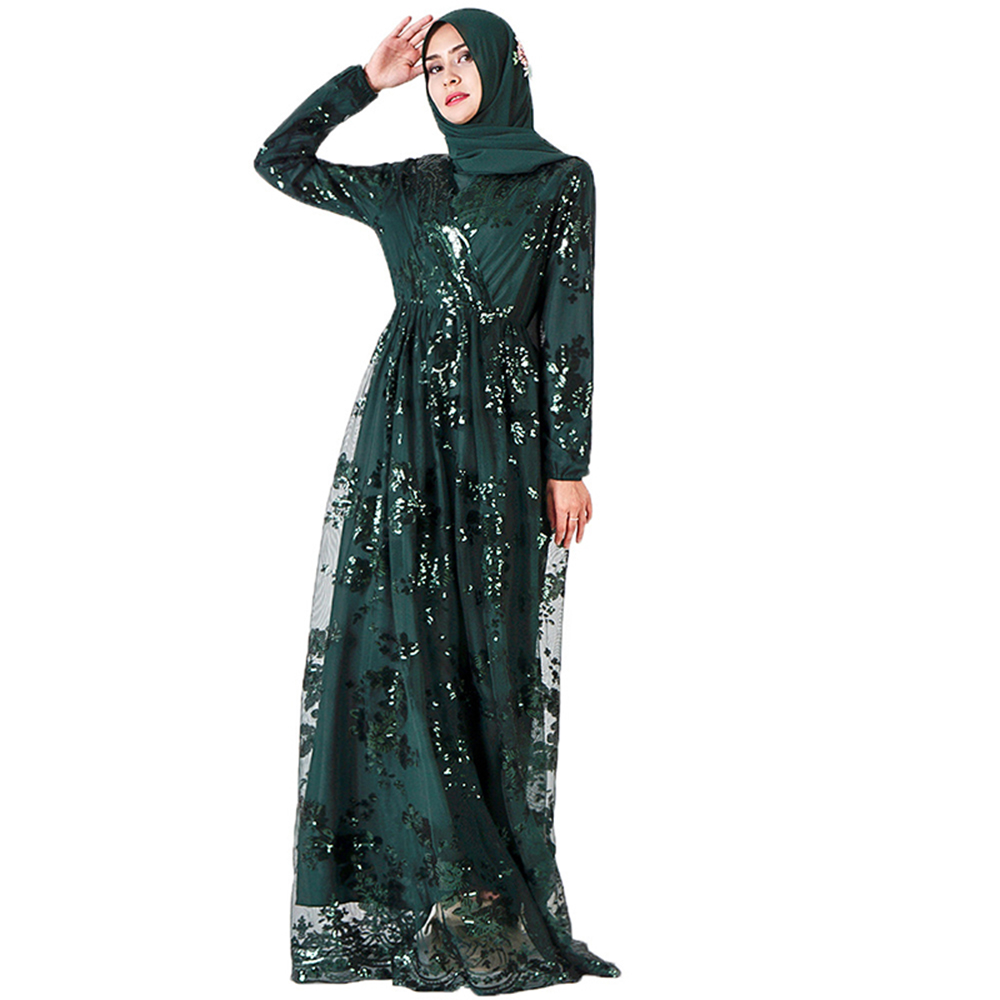 Plus Size Muslim Fashion Lace Sequin Abaya Dubai Dress For Women Turkey Robe Evening Maxi Dresses
