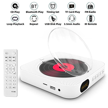 Portable CD Player Bluetooth Speaker Stereo CD Players LED Screen Wall Mountable CD Music Player with IR Remote Control FM Radio