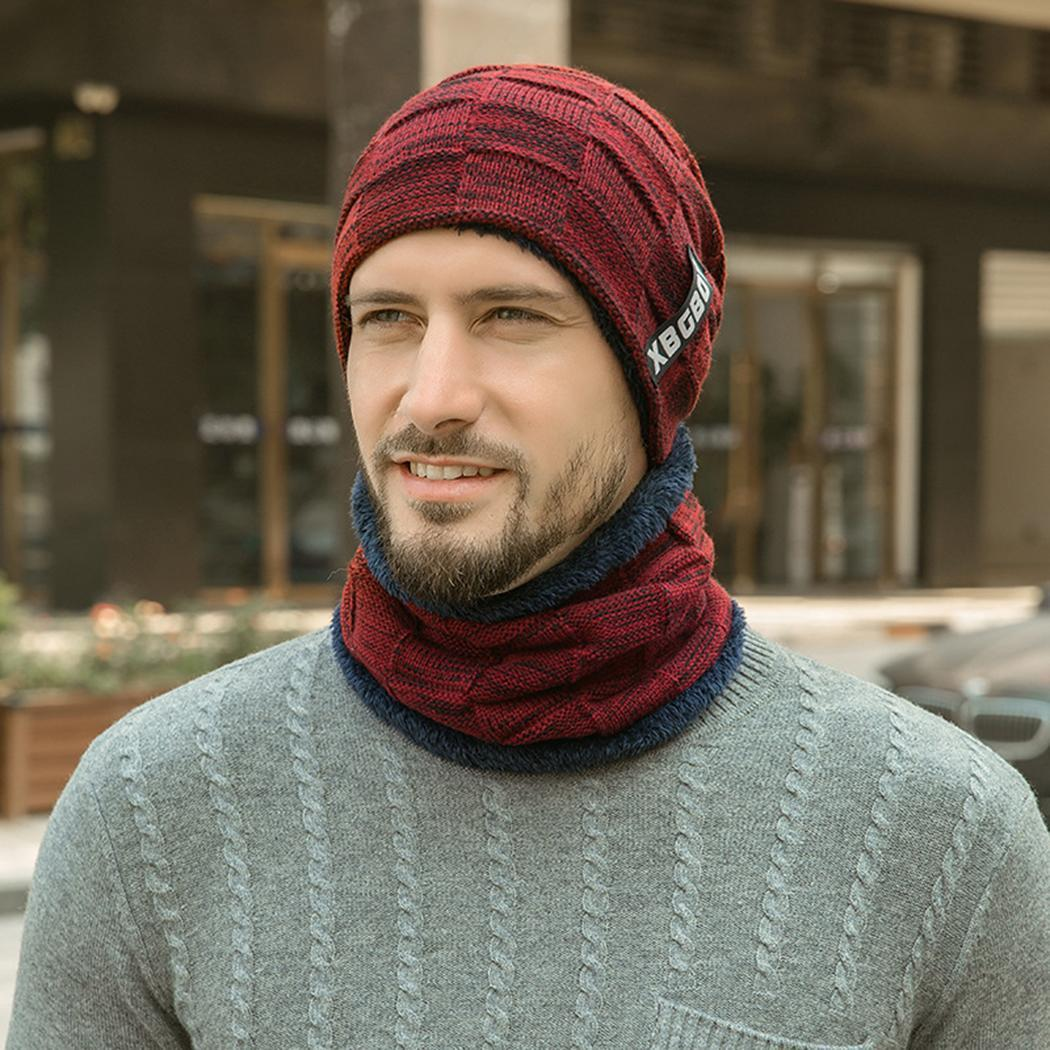 Winter Warm Men Solid Knitted Hat Velvet Scarf Set Outdoor Autumn, Daily Life Comfortable Headgear