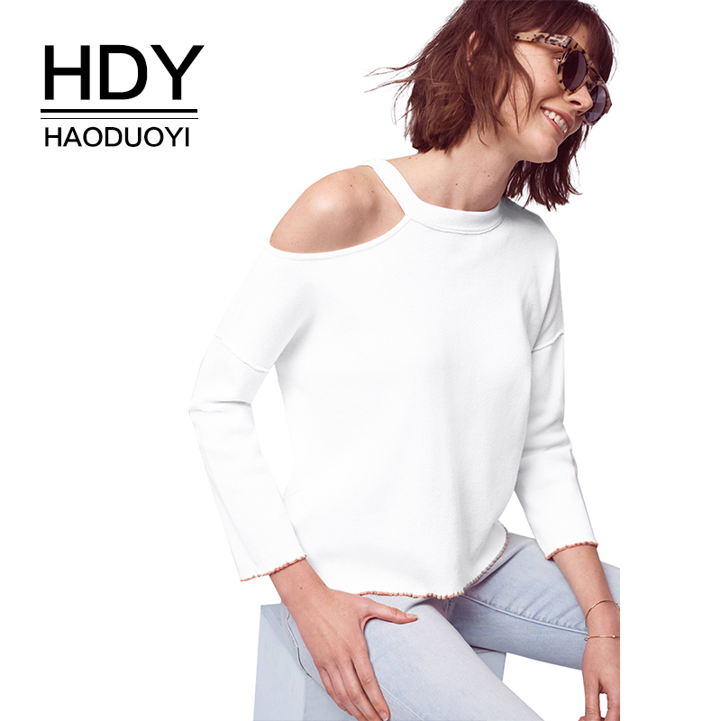 HDY Haoduoyi Apparel 2019 Summer Women Sweater Casual Solid White - Ropa de mujer