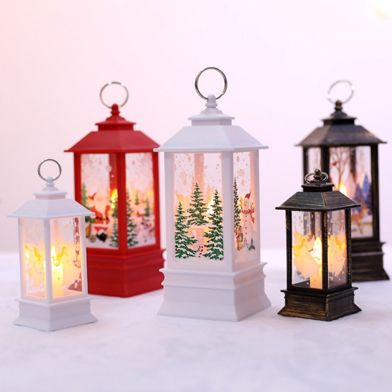 Christmas Mini Lantern LED Hanging Candle Lamp Elk Santa Pattern Claus Snowman Christmas Home Party Decoration Battery Operaed
