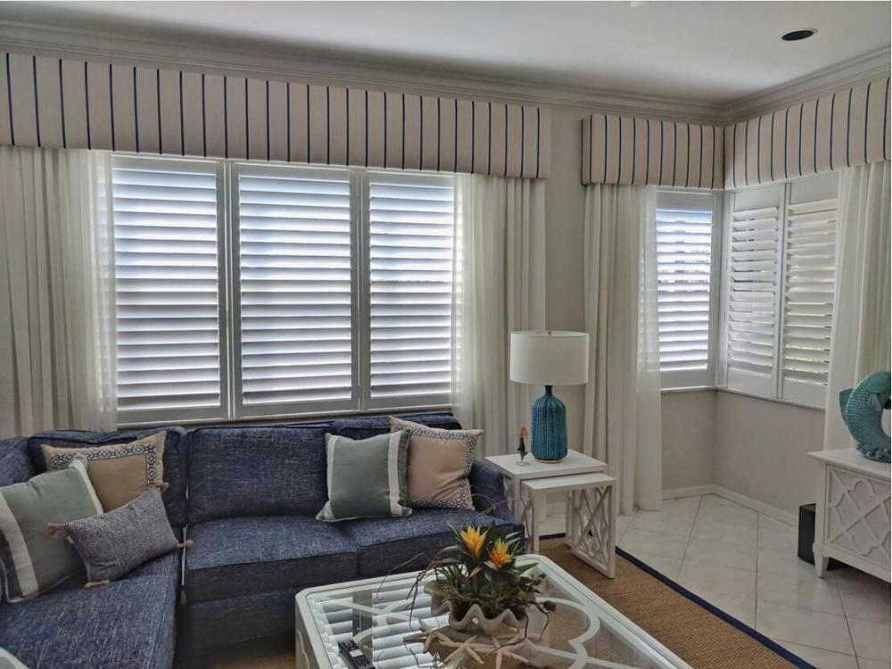 Custom Basswood Plantation Shutters Wooden Blinds Solid Wood Shutter Louvers PS283