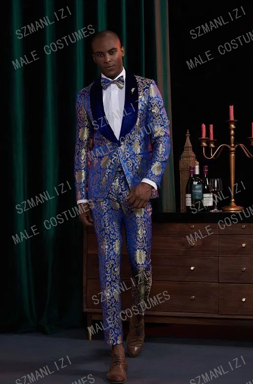 2020 New Fashion Suit Latest Coat Pant Designs Royal Blue Floral Tuxedo Velvet Lapel Party Dress Groom Suit Men Suit For Wedding