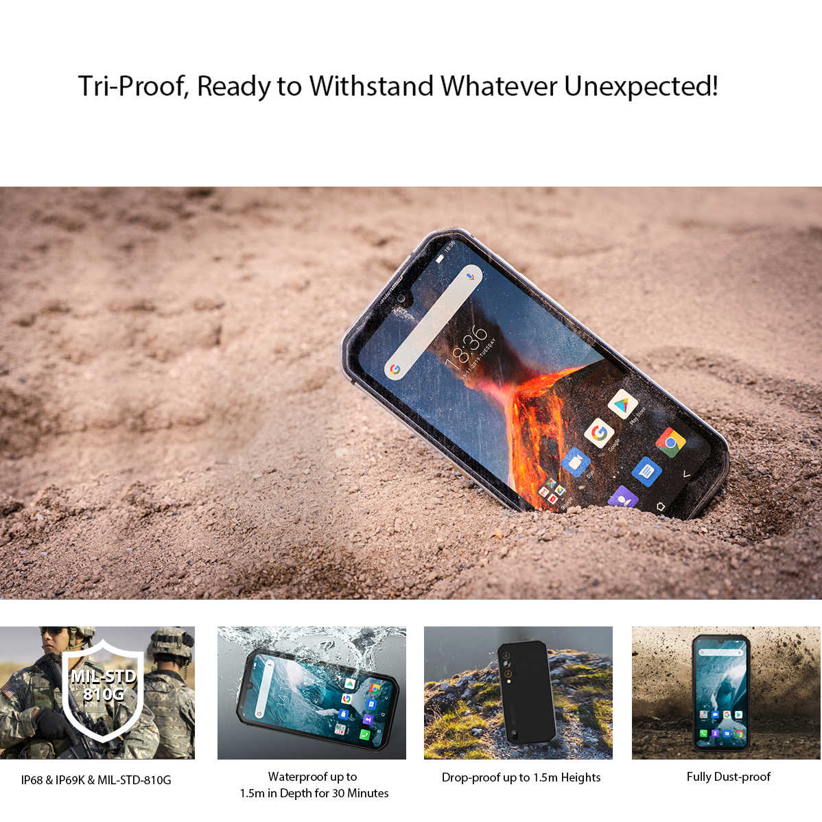 Blackview BV9900 Pro cámara térmica teléfono móvil Helio P90 Octa Core 8GB + 128GB IP68 robusto Smartphone 48MP Quad cámara trasera