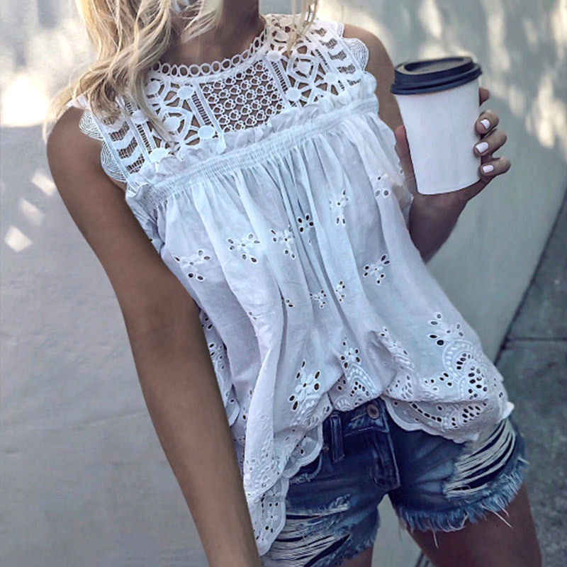 Women Sexy Sleeveless Hollow Out Blouse Summer Loose Lace Patchwork Cotton Blouse Shirt Casual O Neck Solid White Blusa Tops 5XL