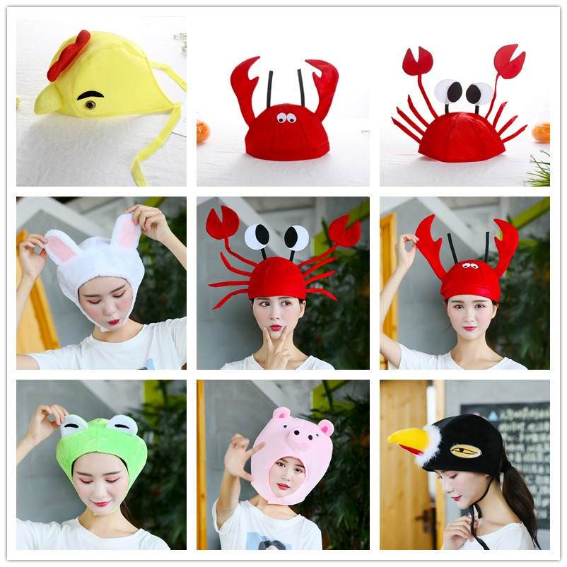 Children's Adult Cartoon Pig Rabbit Lobster Crab Animal Hat Performance Prop Performance Headdress Animal Headgear