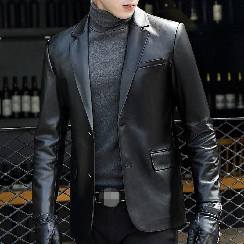 Brand Black Genuine Leather Blazer Men Business Autumn Slim Sheepskin Coat Plus Size 5XL Fashion 2020 Long Sleeve Suit Jacket