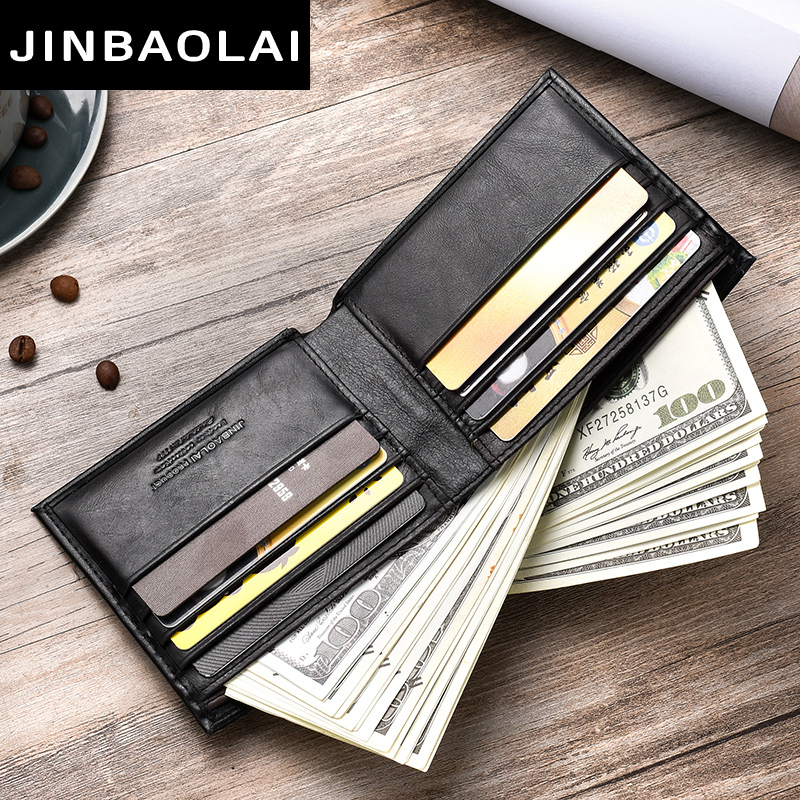 Top 2019 Vintage Men Leather Brand Luxury Wallet Short Slim Male Purses Money Clip Credit Card Dollar Price Portomonee Carteria