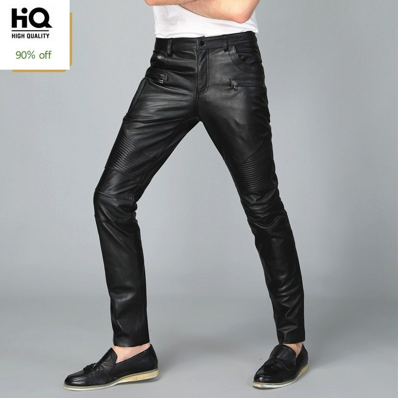Casual Mens Full Length 2020 New Genuine Leather Straight Slim Pencil Pants Streetwear High Quality Comfort Trouser Masculino