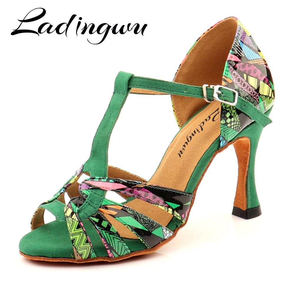 Ladingwu Hot Brand Latin Dance Shoes Salsa Women Girls Comfortable Dance Shoes Sandals Colorful Geometric Print Pattern Shoes