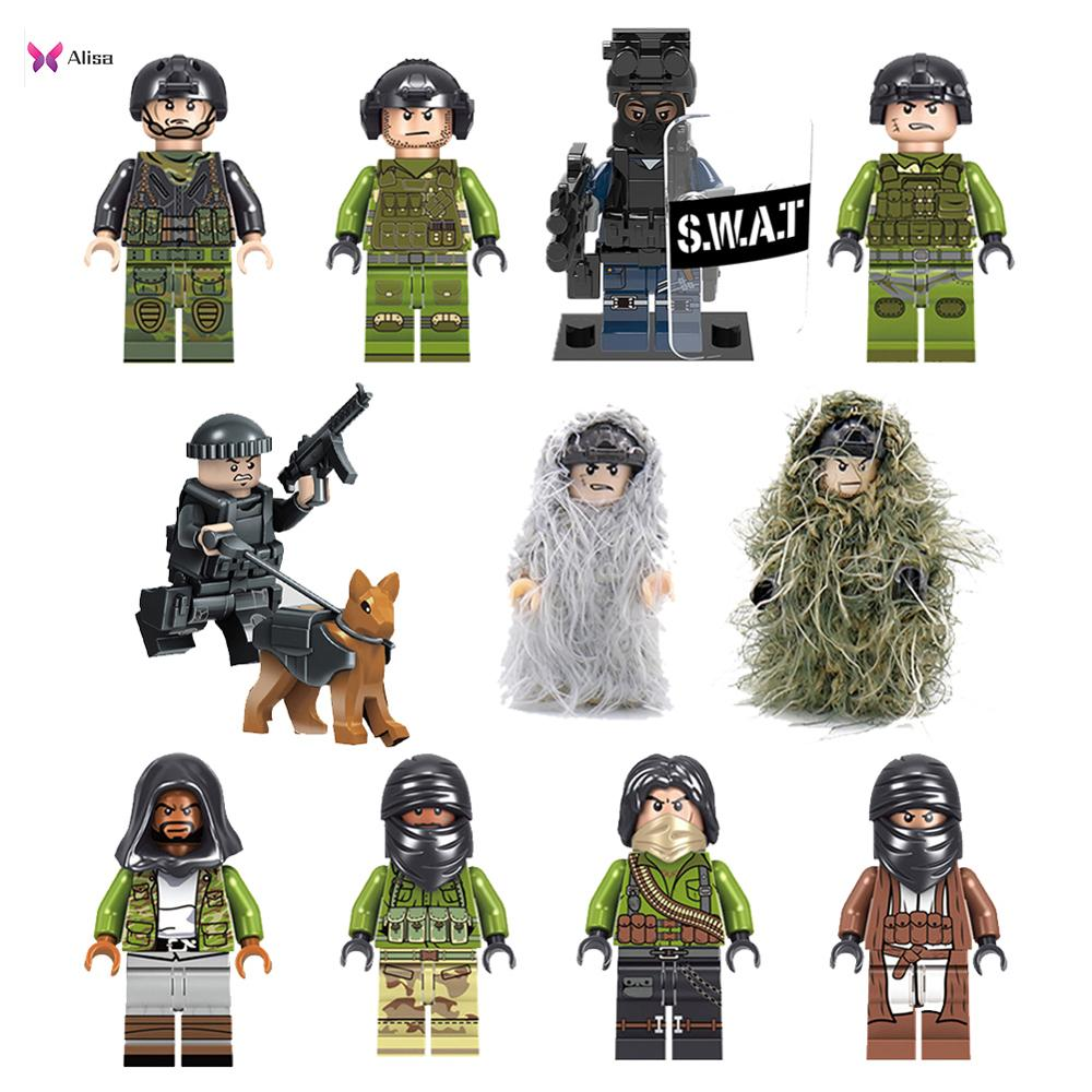 Army Military Building Blocks Small Military People Police Swat Team Army Soldiers Legoinglys With Aerial Soldier Officer Weapon