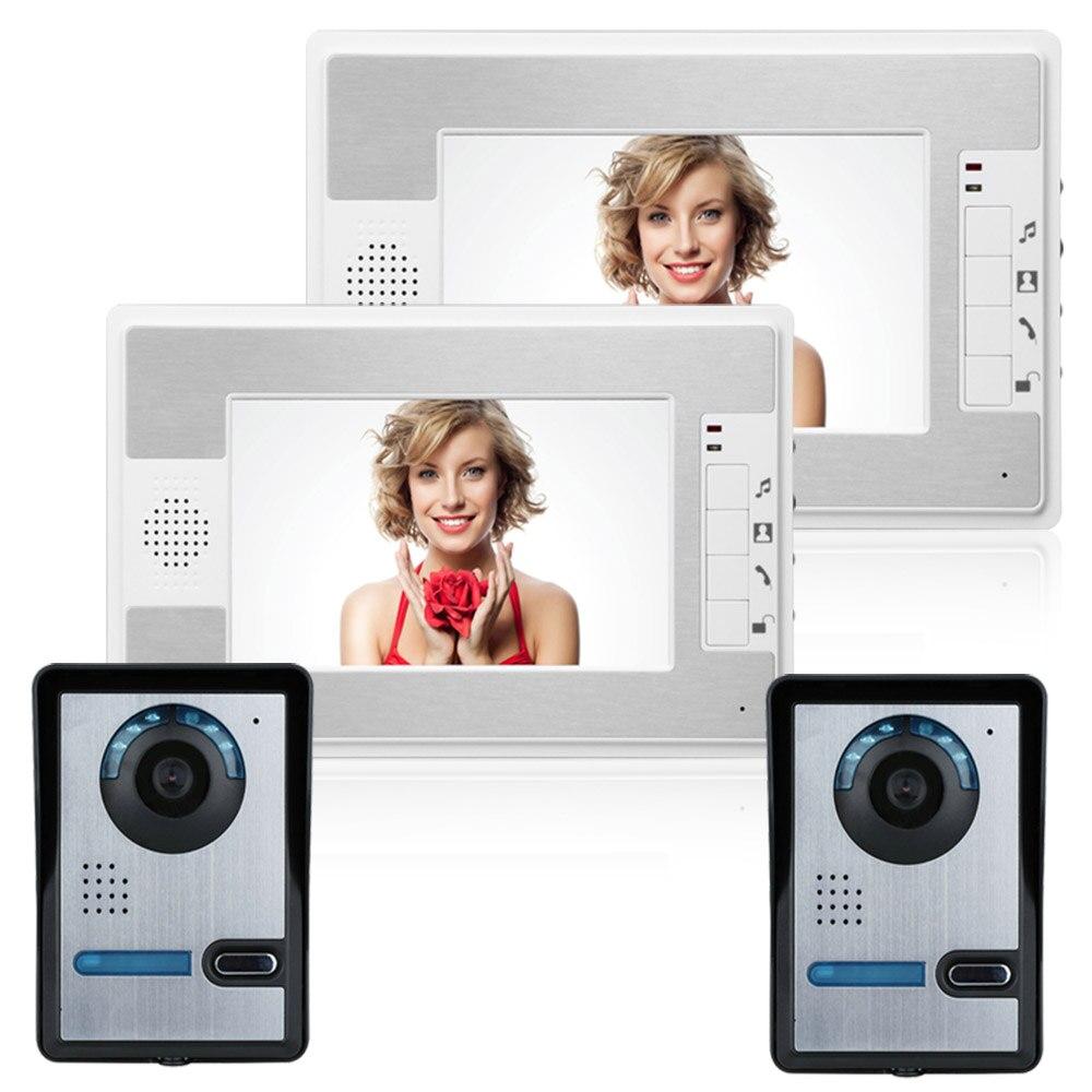 7 Inch Wired Video Door Phone Visual Video Intercom Speakerphone Intercom System With Night Vision IR Camera