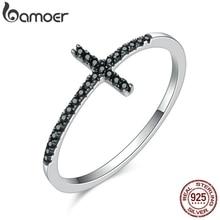 BAMOER Популярные 925 пробы серебряные кольца в форме Креста для женщин, черные прозрачные CZ Ювелирные изделия из стерлингового серебра, подарок SCR067