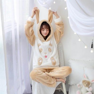 Christmas Pajamas Women WAVMIT Winter Wool Warm Velvet Thickening Flannel Sleepwear Set Cute Hooded Pajamas Loungewear Women 3