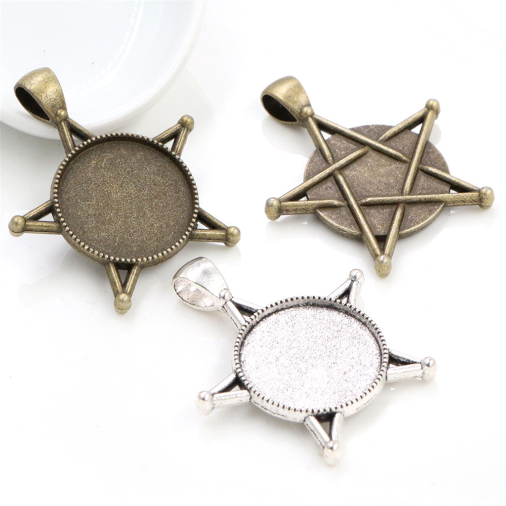 10pcs 20mm Inner Size Antique Silver Plated And Bronze Colors Five-Star Style Cabochon Base Setting Charms Pendant