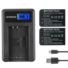 Andoer LP-E12 2 Pack 7.4V 1200mAh Oplaadbare Batterij met LCD USB Charger Kit voor Canon EOS 100D/ EOS Rebel SL1/EOS-M/EOS-M2(China)