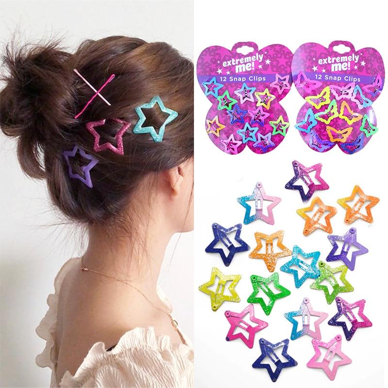 Pentagram Kids Glitter Star Colors Girls y 12PCS Candy Color Children Hair Clips
