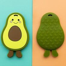 1PC Baby Teether Silicone Avocado Teething Pendant Food Grade Silicone Animal Ro