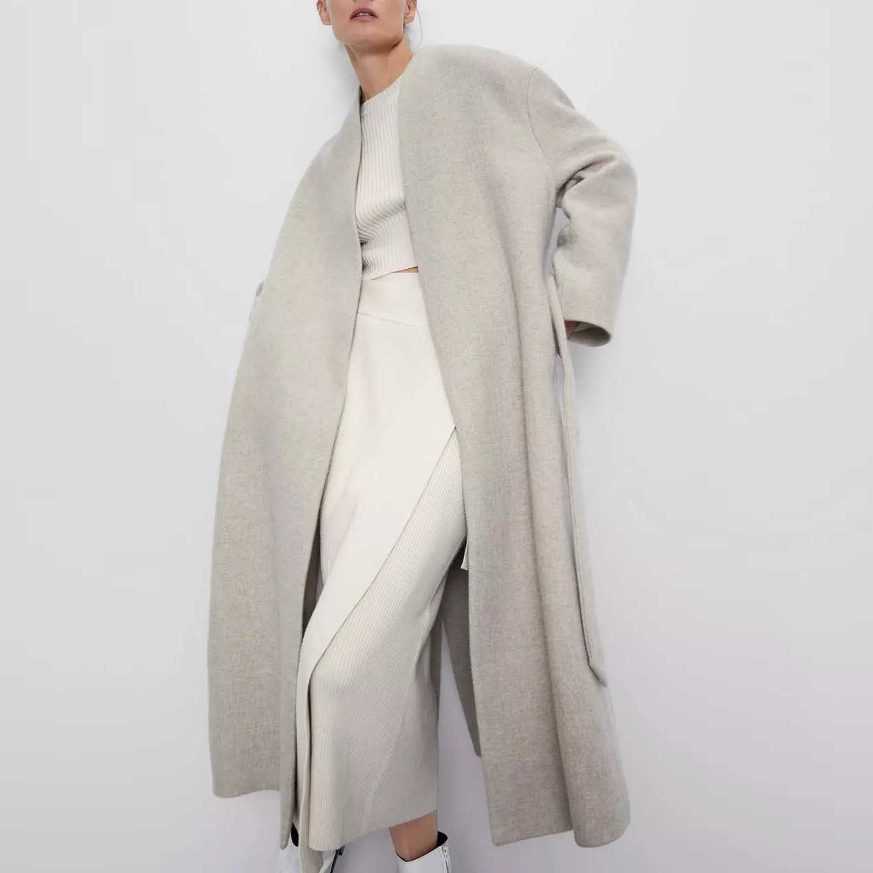 Za outono inverno lã tweed casaco feminino mid-long faixas casual feminino blusão outerwear lã trench parka feminino