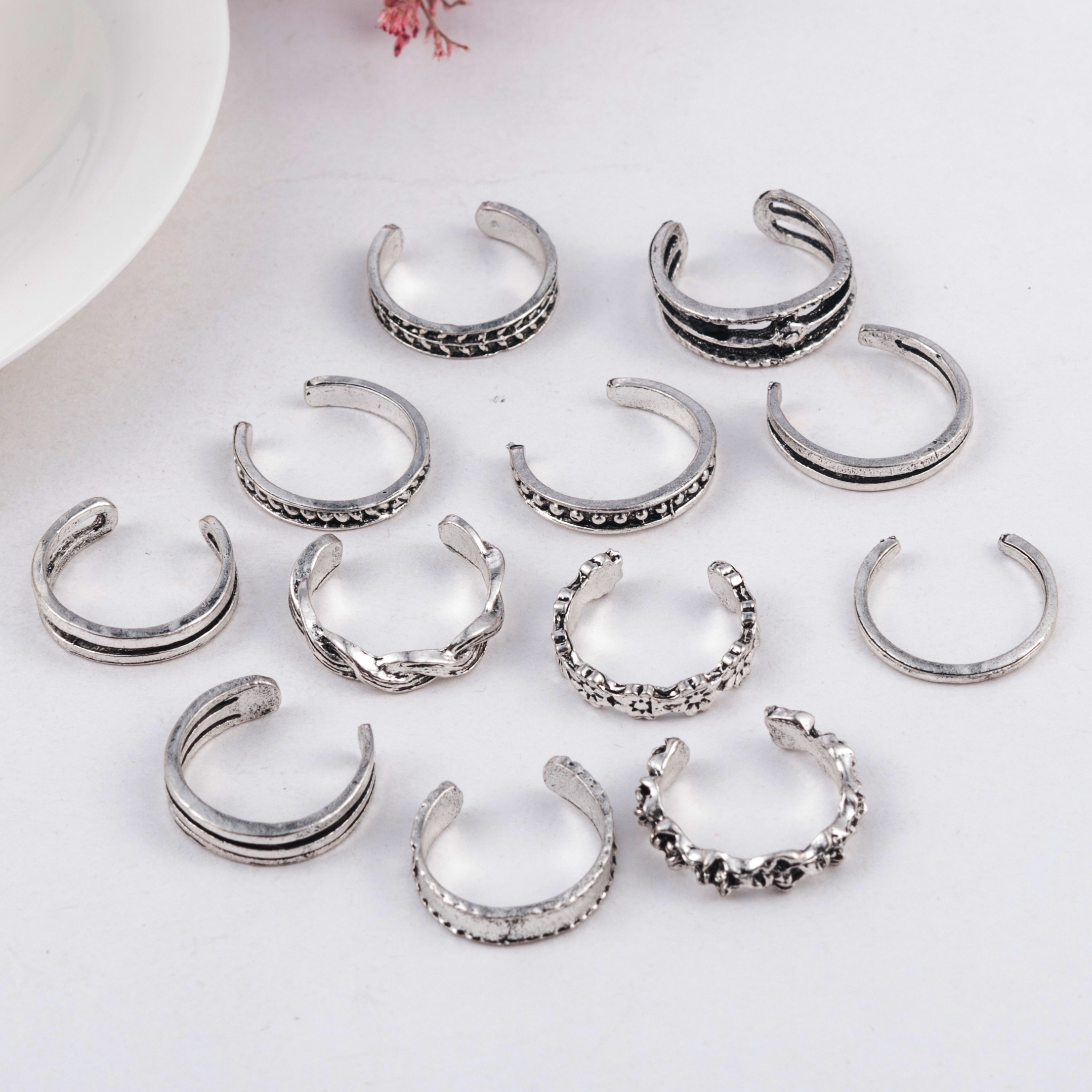 12PCs/set Women Lady Unique Adjustable Opening Finger Ring Retro Carved Toe Ring Foot Beach Foot Jewelry anillos mujer 4