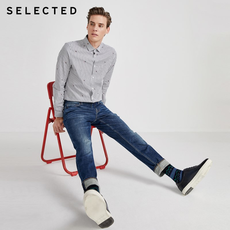 SELECTED Men's Spring Slim Fit Denim Pants Slightly Stretch Jeans S|420132508