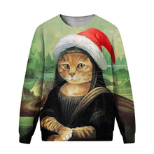 LISCN Christmas new fashion sweatshirt 3D printing cat funny sexy print round neck long sleeve men and women couple models