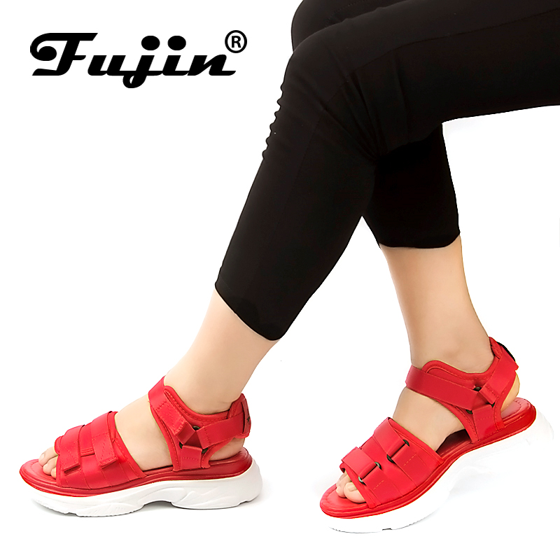 Fujin Brand 2020 Summer Shoes For Women Platform Flat Sandals Lady Leather Shoes Casual Leisure Beach Footwear Sandalias Mujer