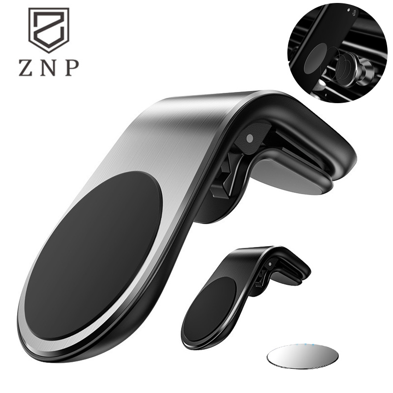 ZNP Metal Magnetic Car Phone Holder L Shape Air Vent Mount Stand In Car GPS Mobile Phone Holder For IPhone X XS 11 Magnet Stand