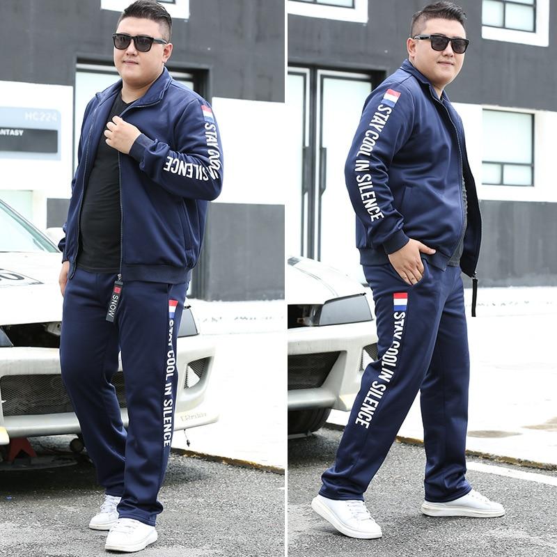2020 moda męska rozmiar Plus Plus rozmiaru zamek błyskawiczny strój sportowy dla mężczyzn Trend dwuczęściowy garnitur 300 Kg nosić jesień bieganie