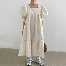 Летнее женское корейское винтажное свободное платье с высокой