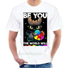Autism Toothless Dragon Be You The World Will Adjust Men'S Black T Shirt S-6Xl For Youth Middle-Age Old Age Tee Shirt @112901