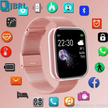 Модные умные часы из нержавеющей стали для женщин и мужчин, электронные спортивные наручные часы для Android IOS, квадратные Смарт-часы