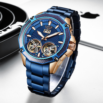 LIGE 2020 Fashion Mens Mechanical Wristwatches Top Brand Luxury Double Tourbillon Automatic Watch Men All Steel Waterproof Clock - discount item  90% OFF Men's Watches