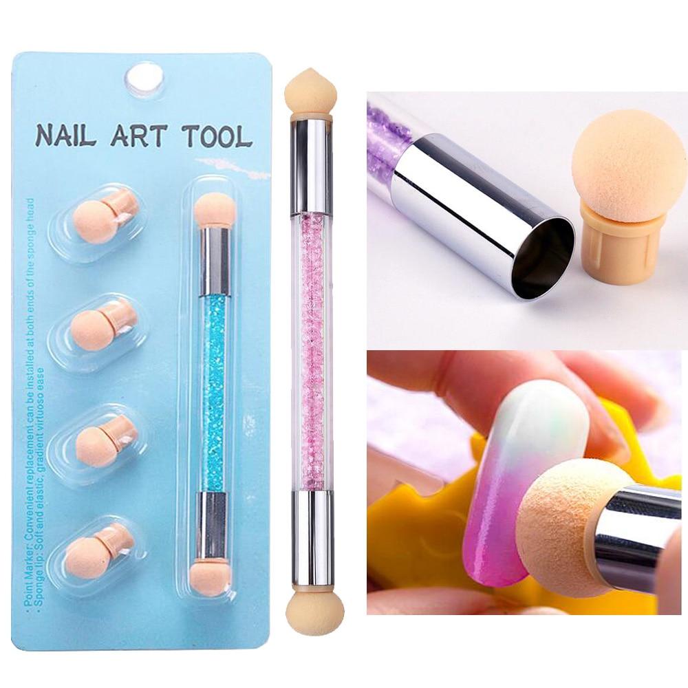 Double Ended Gradient Shading Pen Dotting Washable Brush Pen with Sponge Head Rhinestone Handle Nail Art Tool