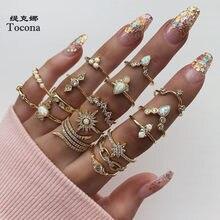 Tocona, 17 unids/set de lujo de cristal claro piedra conjuntos de anillos de boda para hombres y mujeres de la gota de agua flores el sol Geoemtric de joyería 8920
