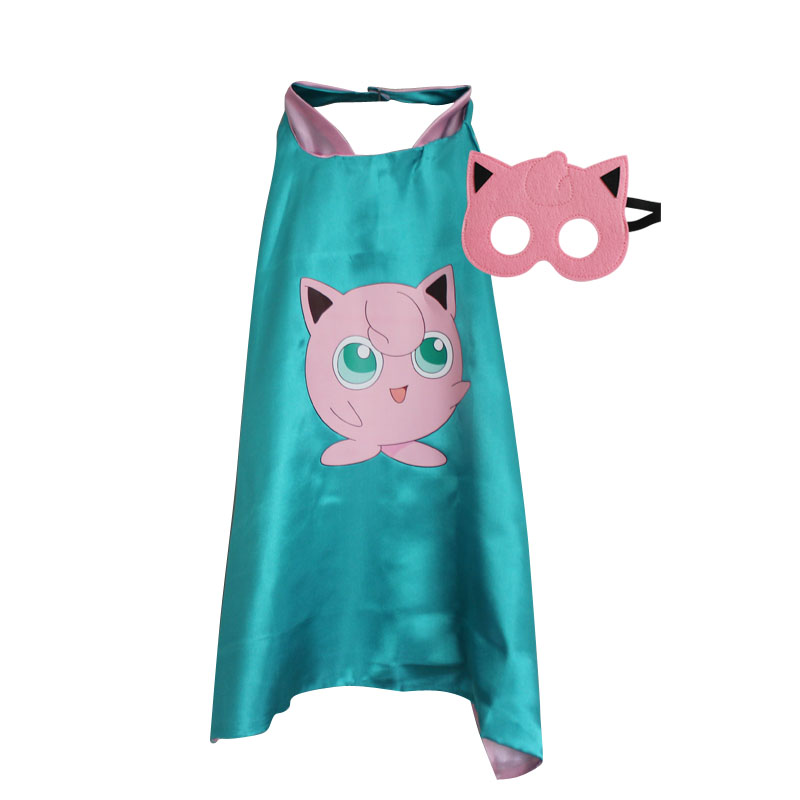 Halloween Child Pokemon Cosplay Boys Girls Picochu Cape with Mask Kids Birthday Party Favor Gift