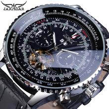 Jaragar Pilot Design Skeleton Automatic Watch Men Tourbillon Date Multifunction Mechanical Genuine Leather Business Watches Gift