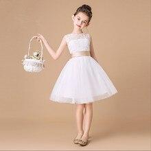 Белое кружевное платье для девочек вечерние платье с открытой спиной, с бантом, платье для первого причастия, платье для торжеств для девочек, платье принцессы платье с цветочным узором для девочек для свадебного торжества