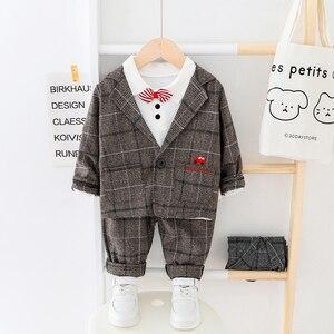 Image 2 - Çocuk giysileri erkek bebek ekose takım elbise seti 2020 moda 3 adet güz kostüm erkek ceket + T gömlek + pantolon giyim 1 2 3 4 Y