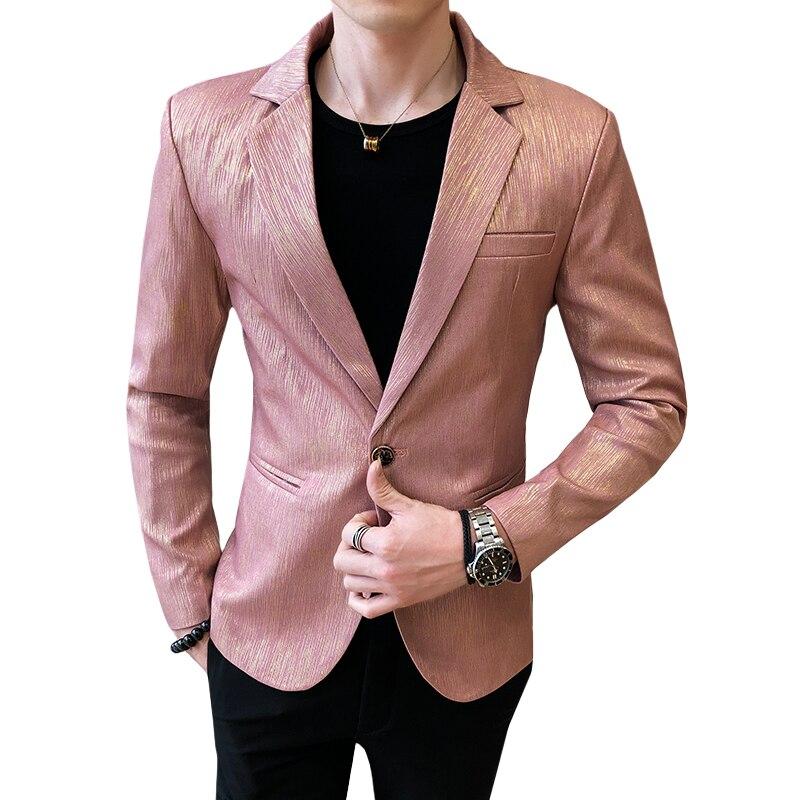 Fashion Men Striped Suit Jacket Slim Mens Suit Blazer Golden Blue Jacket And Coat Spring And Autumn Tops Overcoat 2020