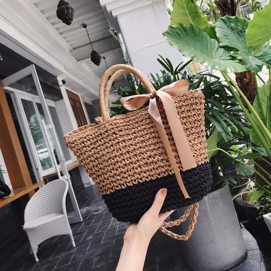 Casual Bow Rattan Women Handbags Handmade Woven Shoulder Bags Wicker Totes Summer Beach Straw Bag Ladies Travel Totes Female Sac