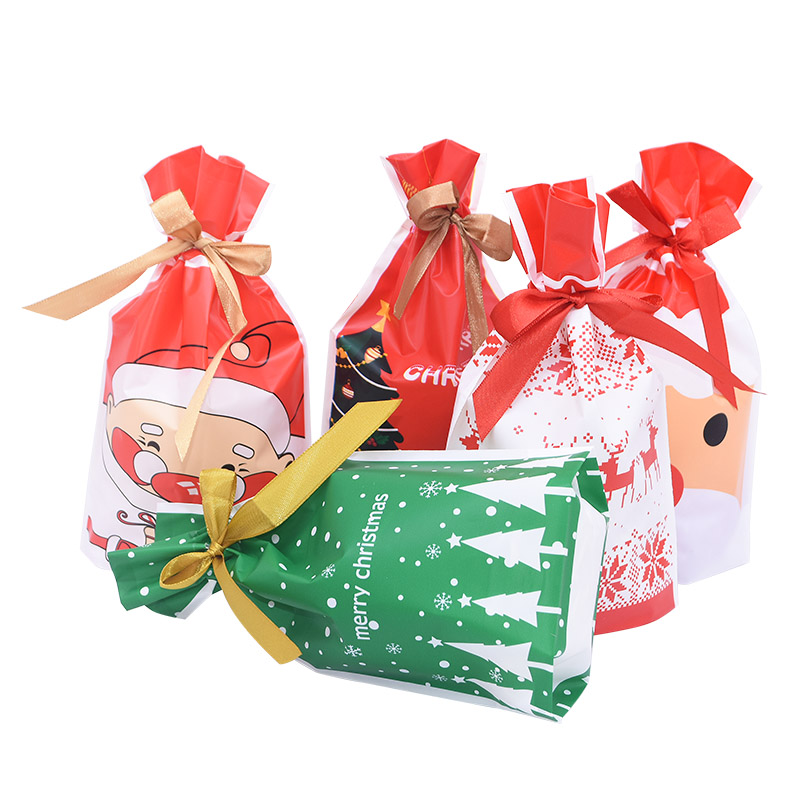 5/10pcs Christmas Candy Bags Cute Santa Claus Printed Plastic Bag Merry Christmas New Year Gift Candy Snack Packaging Supplies 7
